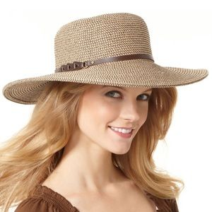 "NEW Nine West Packable 22"" Straw Floppy Hat NWT"